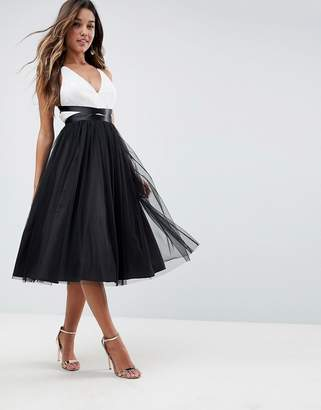 Asos Design PREMIUM Tulle Midi Prom Dress With Ribbon Ties