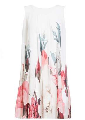 Quiz Cream And Coral Floral Print Sleeveless Tunic