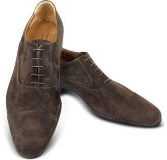 Moreschi Dublin Dark Brown Suede Cap-Toe Oxford Shoes