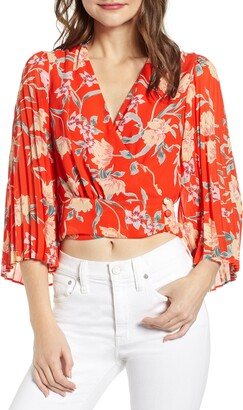 ASTR the Label Floral Pleated Sleeve Wrap Blouse