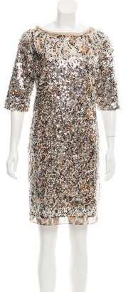 Elie Tahari Sequined Mesh Dress $85 thestylecure.com