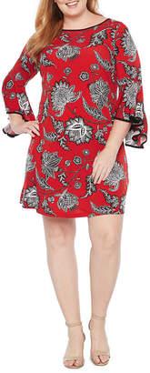 MSK Long Sleeve Floral Shift Dress - Plus