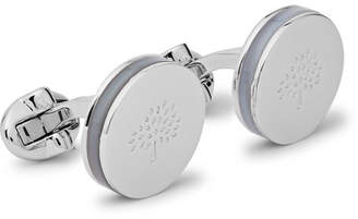 Mulberry Engraved Silver-Plated Mother-Of-Pearl Cufflinks