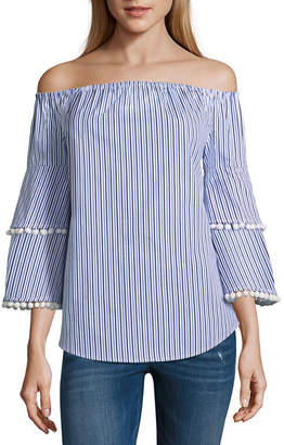 BELLE + SKY Tier Sleeve Pom Pom Top