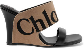 Chloé Verena Logo-print Canvas And Leather Wedge Sandals - Dark brown