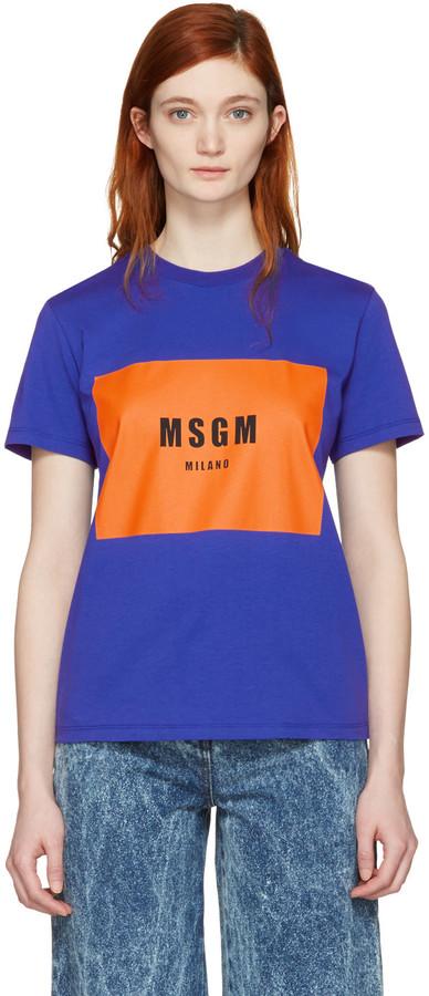 MSGM Blue Logo T-Shirt