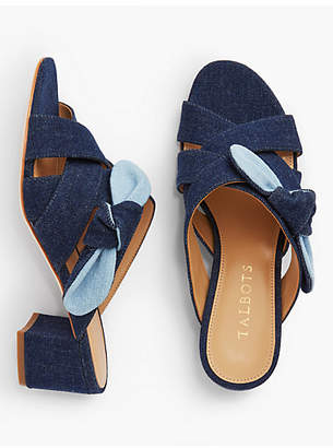 Talbots Georgia Knot Slide Sandals-Denim