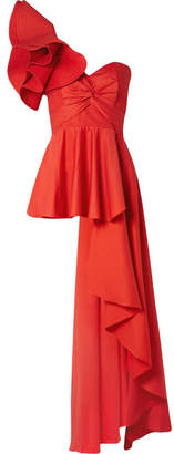 Johanna Ortiz Paso Doble One-shoulder Ruffled Cotton-blend Poplin Top - Red