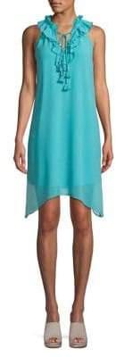 Kensie Crepe Chiffon Asymmetric Dress