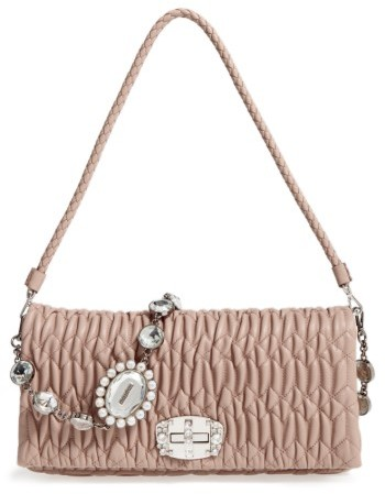 Miu Miu Miu Miu Medium Crystal Matelasse Leather Crossbody Bag - Orange