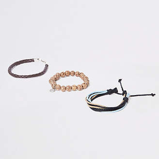 River Island Brown bead and lattice bracelet pack