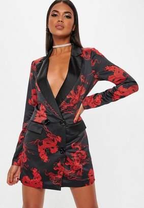 Missguided Black Dragon Print Blazer Dress
