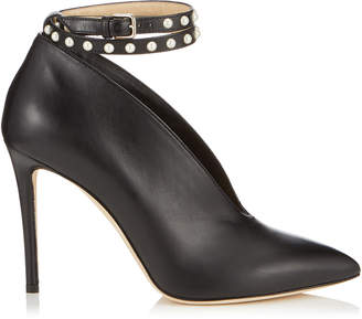 Jimmy Choo LARK 100 Black Shiny Calf Leather Booties
