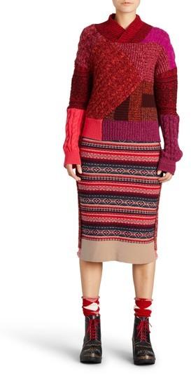 Women's Burberry Knit Wool Blend Pencil Skirt
