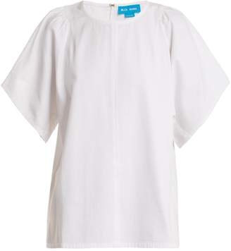 MiH Jeans Mina gathered-shoulder cotton top