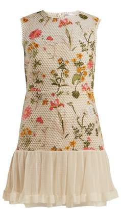 RED Valentino Floral Embroidered Mini Dress - Womens - Ivory Multi