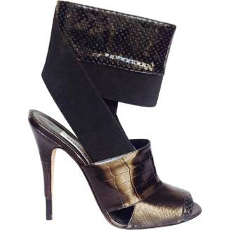 Manolo Blahnik Black Exotic Leathers Heels