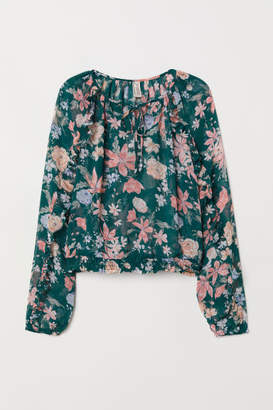 H&M Airy Blouse with Flounces - Turquoise