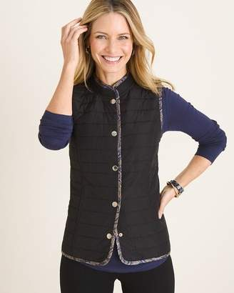 Chico's Chicos Reversible Printed Jacquard to Black Quilted Vest