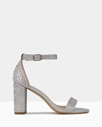 betts Jayd Diamante Embellished Block Heel Sandals