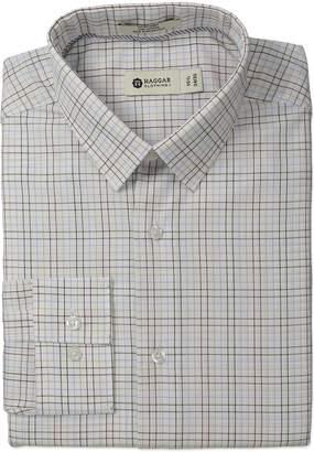 Haggar Men's Multi Color Check Point Collar Regular Fit Long Sleeve Dress Shirt