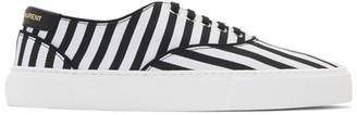 Saint Laurent Black and White Striped Venice Sneakers