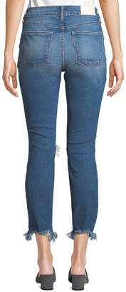 Monroe Pistola High-Rise Knee-Ripped Frayed-Hem Cigarette Jeans