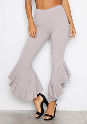 Missy Empire Missyempire Hannah Grey Ruffled Cropped Trousers