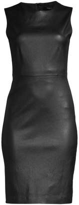 Theory Bristol Leather Sleeveless Sheath Dress
