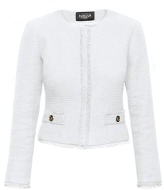 Rumour London Gabrielle Cream Tweed Jacket with Fringing Detail