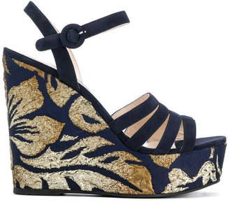 Prada brocade wedge sandals