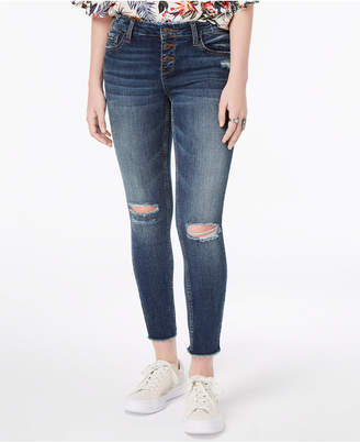 Vanilla Star Juniors' Ripped Button-Fly Skinny Jeans
