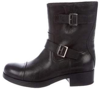 Prada Leather Cap-Toe Boots