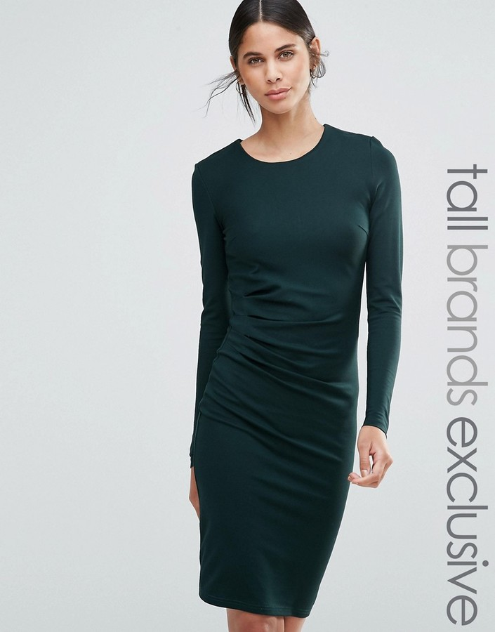 Long Sleeve Pencil Dress - ShopStyle Australia