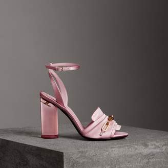 Burberry Link Detail Perspex Heel Satin Sandals , Size: 39, Pink