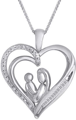 JCPenney FINE JEWELRY 1/10 CT. T.W. Diamond Mom Heart Pendant Necklace