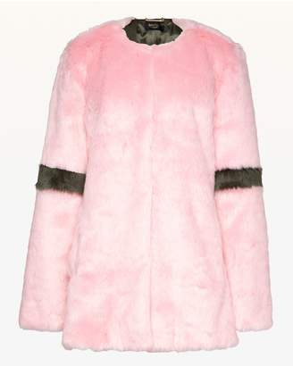 Juicy Couture Striped Faux Fur Coat
