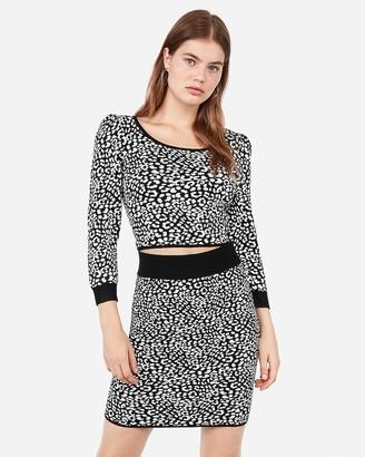 Express High Waisted Leopard Mid-Thigh Sweater Skirt