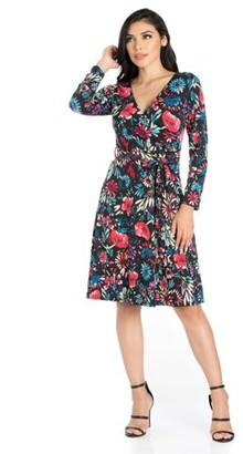 5209d334a1d 24 7 Comfort Apparel 24seven Comfort Apparel Oh So Floral Long Sleeve Knee  Length Dress