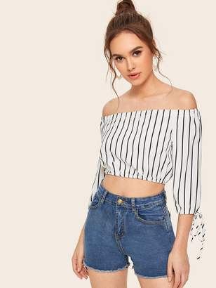 Shein Vertical-striped Off-shoulder Knot Cuff Top