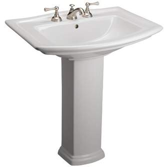 "Barclay Washington 765 Vitreous China 30"" Pedestal Bathroom Sink with Overflow Barclay"