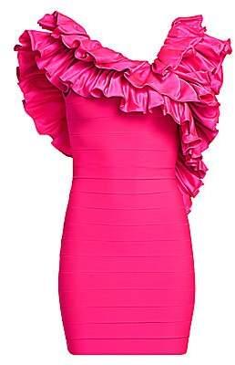 Herve Leger Women's Crisscross Ruffle Mini Dress