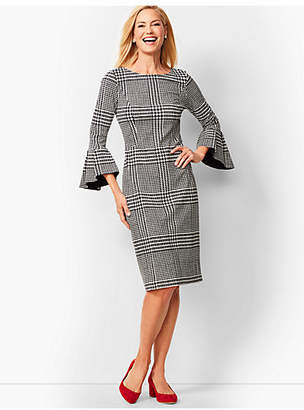 Talbots Refined Ponte Sheath Dress - Glen Plaid