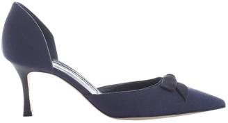 Manolo Blahnik Navy Cloth Heels