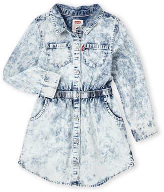 Levi's Girls 4-6x) Long Sleeve Acid Wash Denim Dress