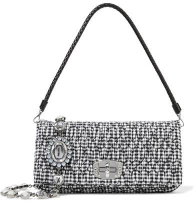 Miu MiuMiu Miu - Vichy Matelassé Gingham Poplin Shoulder Bag - Black