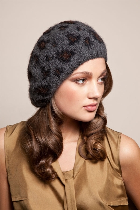 Eugenia Kim Evelyn Beret in Charcoal/Brown/Black