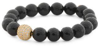 Handcrafted In California Black Onyx Cz Bead Bracelet
