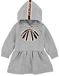 Gucci Infants' Bow-Embroidered Cotton Hooded Dress - Gray