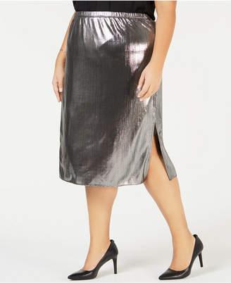 NY Collection Plus Size Metallic Pleated Midi Skirt